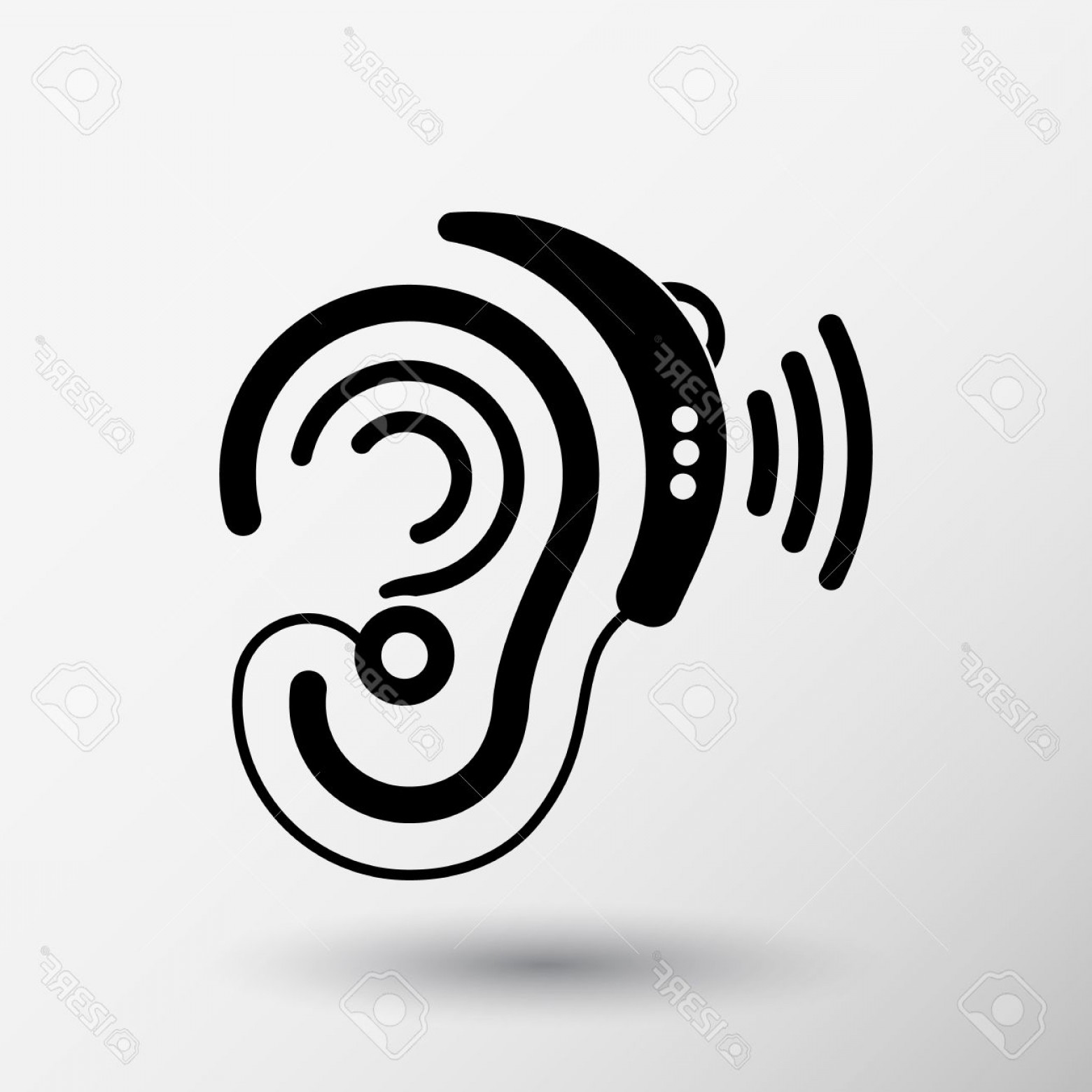 1560x1560 Photostock Vector Ear Vector Icon Hearing Aid Ear Listen Sound