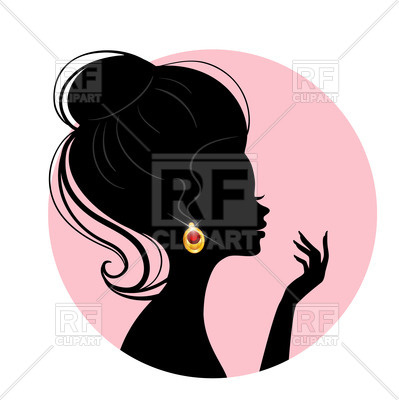 399x400 Silhouette Of A Woman In Profile With Beautiful Earring Vector