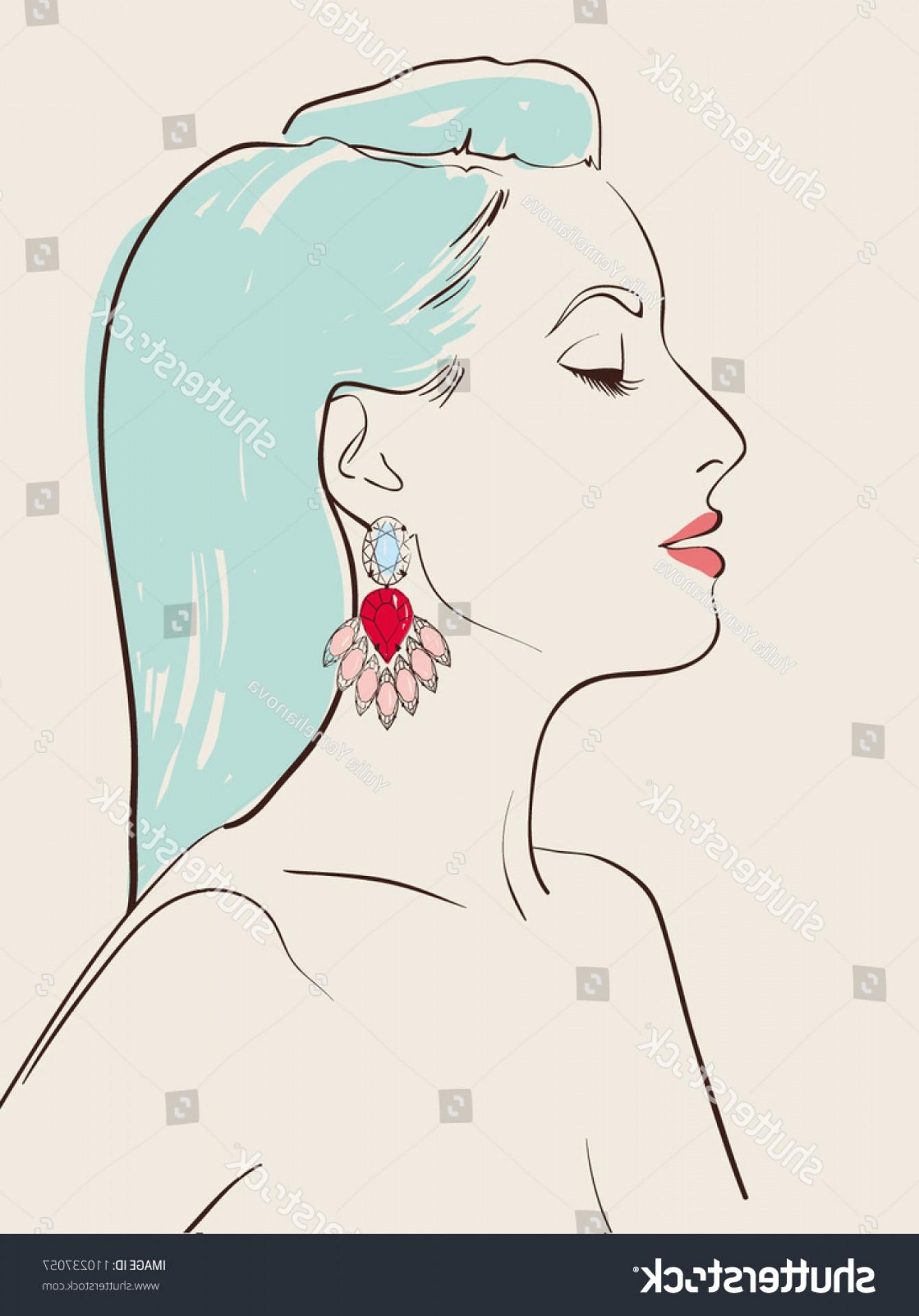 1342x1920 Beautiful Woman Wearing Jewelry Earring Vector Oblacoder