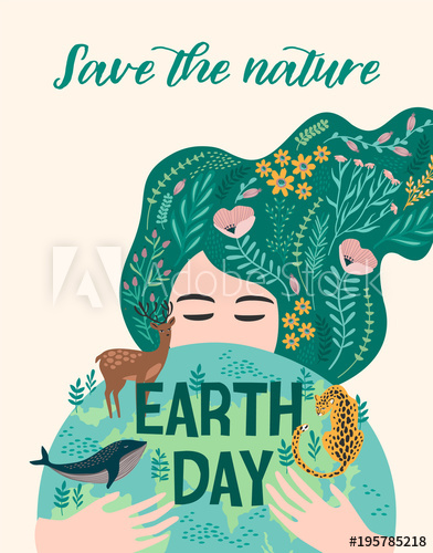 392x500 Earth Day. Vector Design For Card, Poster, Banner, Flyer.