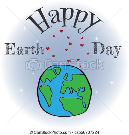 450x470 Earth Day Vector Cartoon Card. Illustration Of A Happy Earth Day