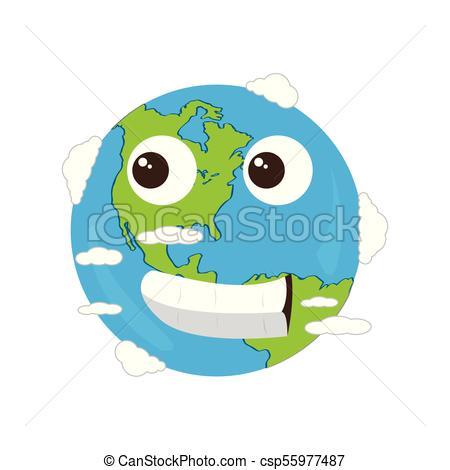 450x470 Happy Earth Emote. Earth Day. Vector Illustration Design.