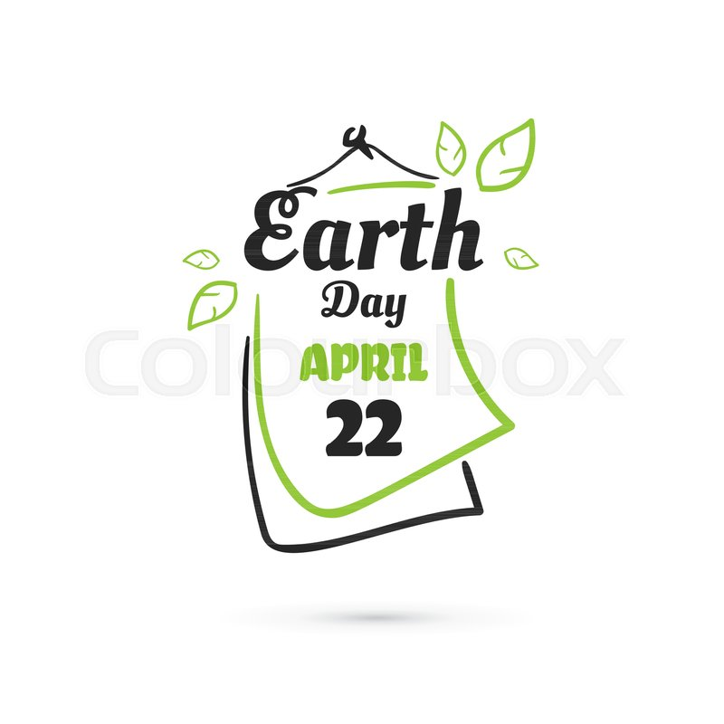 800x800 Typography Badge Design With Calendar For Earth Day. Vector