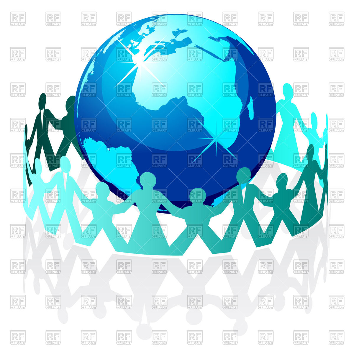 1200x1200 Silhouettes Of People Around World Globe Vector Image Vector