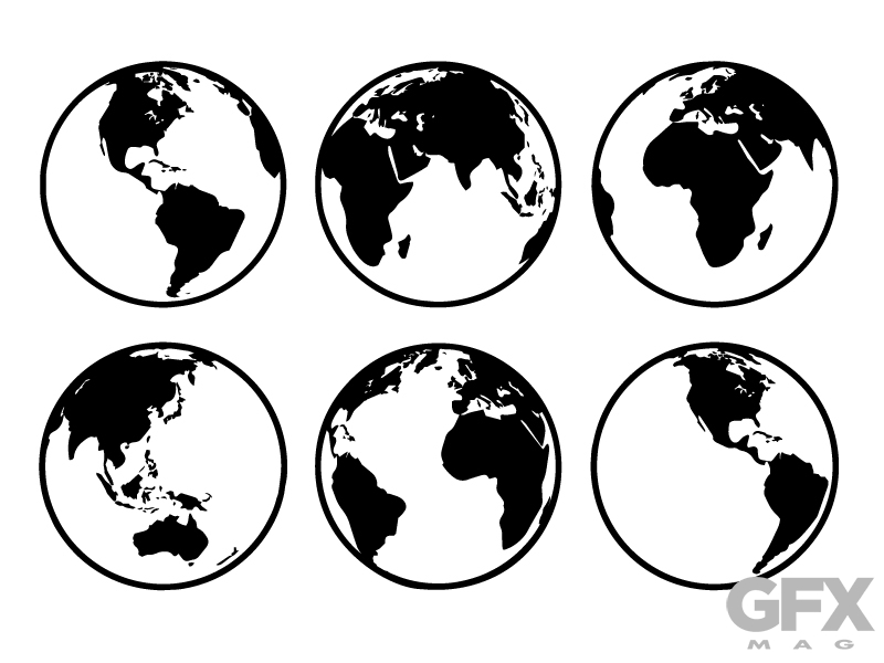 800x600 Vector Silhouette World Earth Globe Map Clip Art Free Download