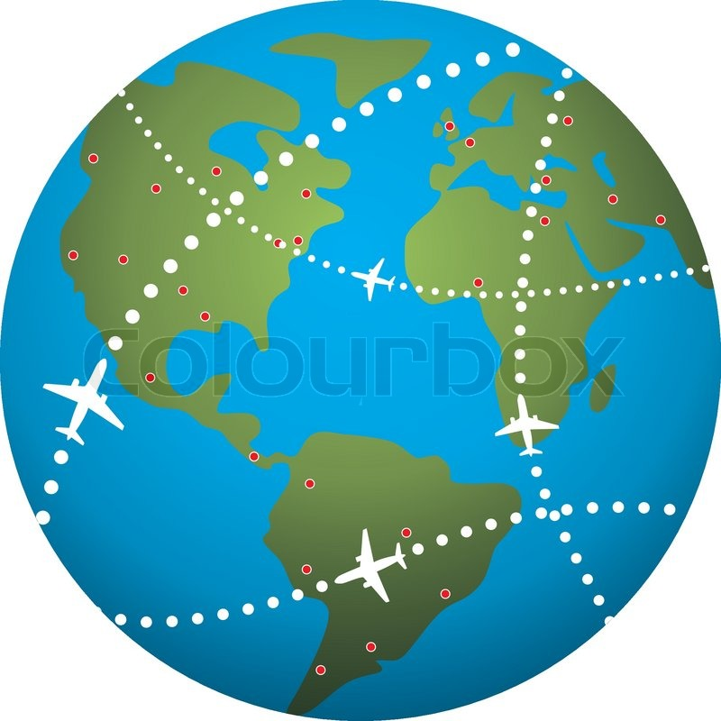 800x800 Vector Airplane Flight Paths Over Earth Globe Stock Vector