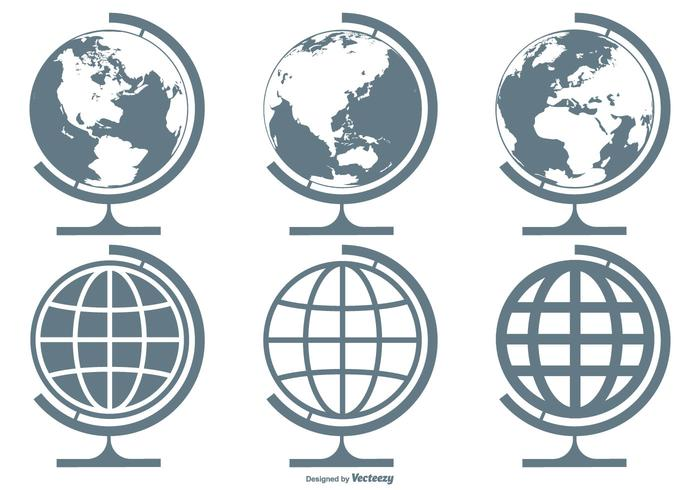 700x490 World Globes Vector Icon Collection