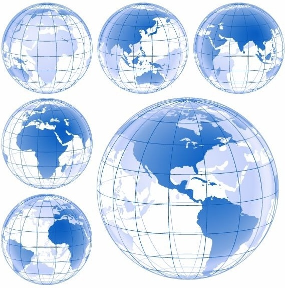 569x574 Blue Earth Globe Vector Set Free Vector In Encapsulated Postscript