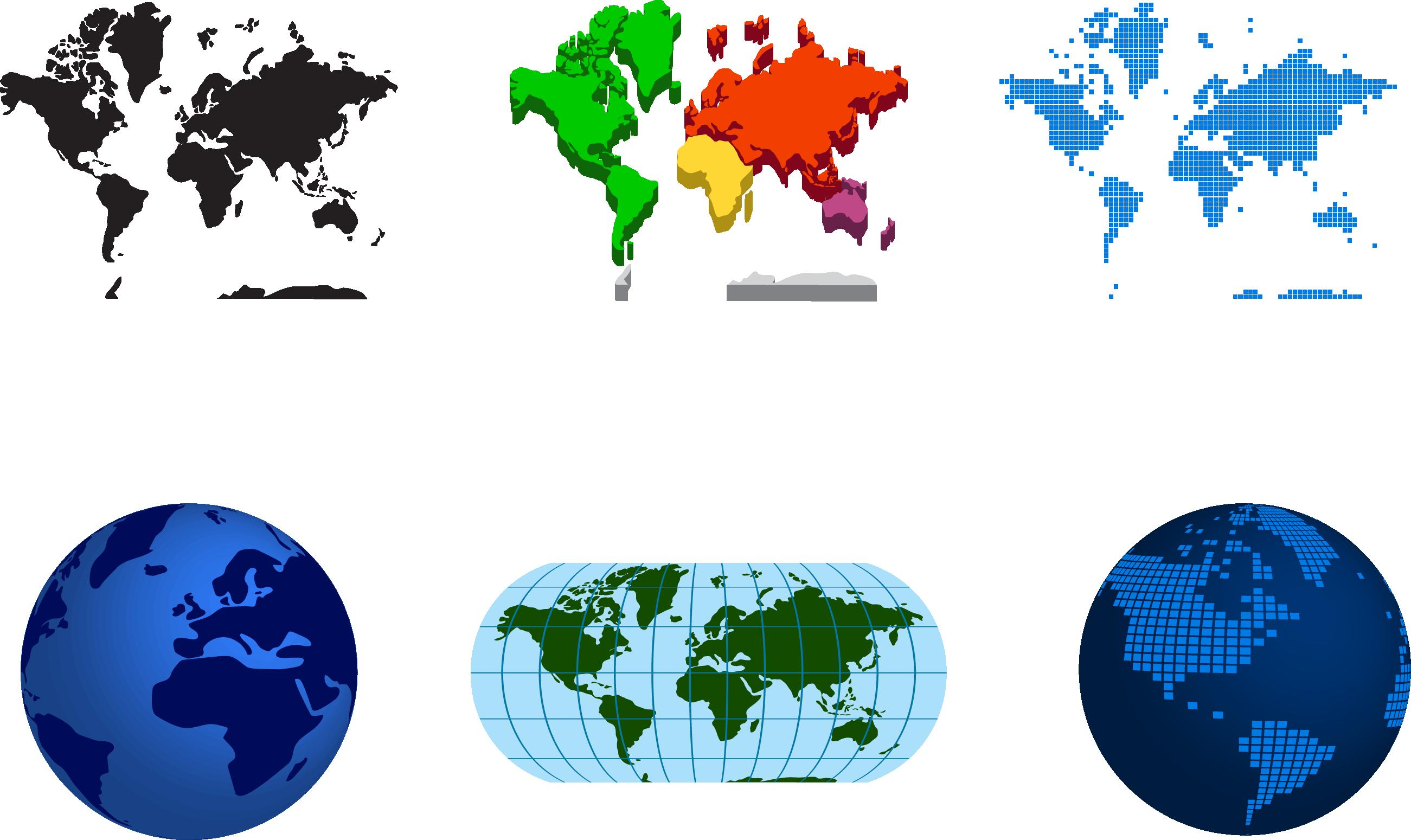 2602x1549 Globe World Map Illustration