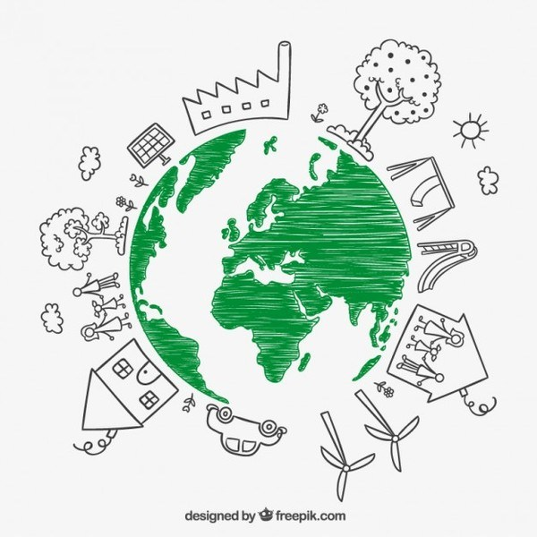 600x600 Sketchy Earth For Earth Day Free Vector 123freevectors
