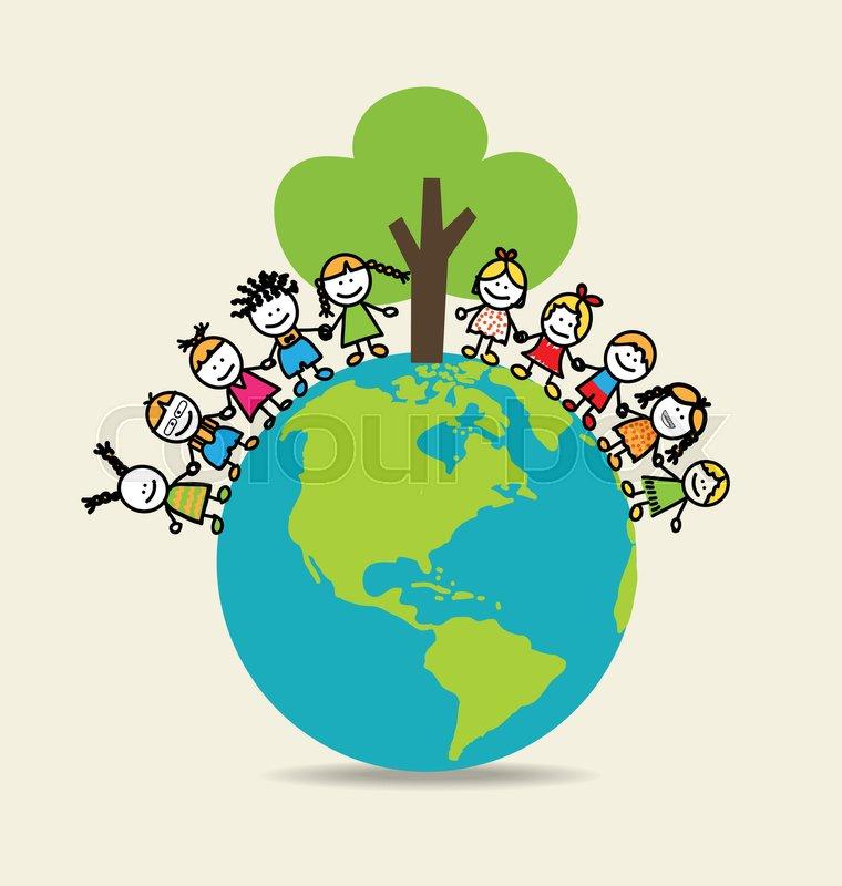 760x800 Cute Children On Green Eco Earth. Vector Illustration. Stock