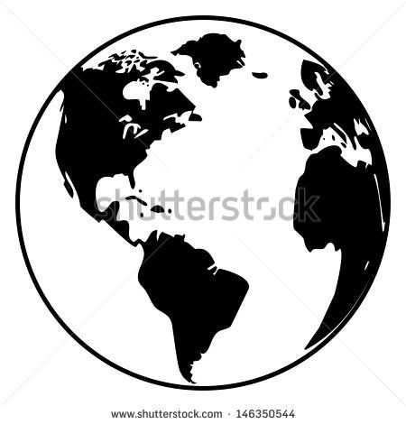 450x470 Earth Globe With World Map Detail Vector Line Sketch Up