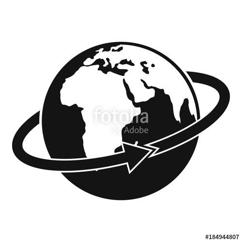 500x500 Flight Around Earth Icon. Simple Illustration Of Flight Around