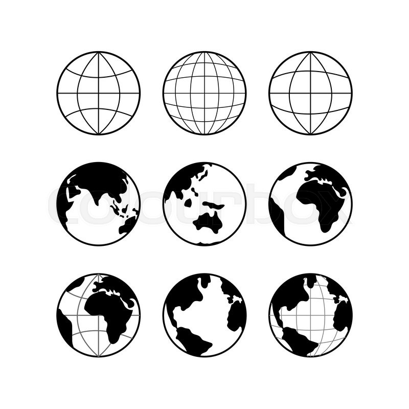 800x800 Globe Earth Vector Black Icons Set, Vector Globe Signs Isolated On