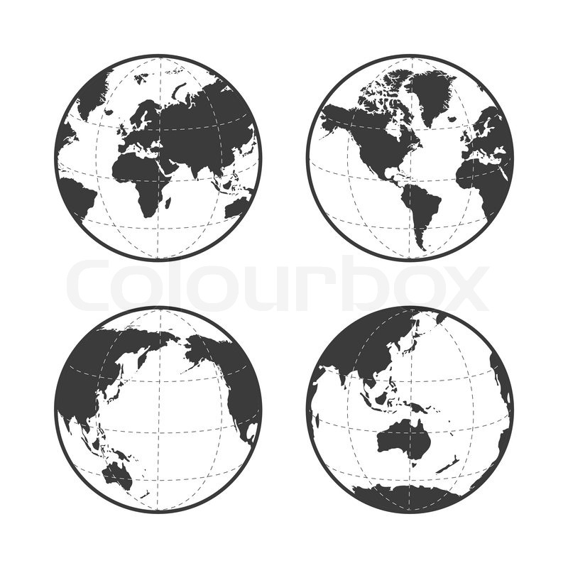 800x800 Globe Earth Vector Icon Set On White Background Stock Vector