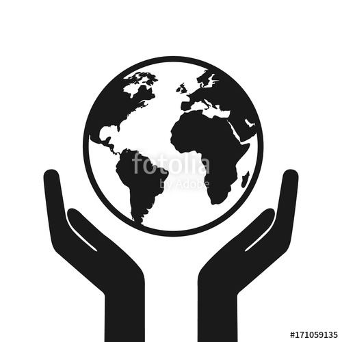500x500 Hands Holding Earth Web Black Icon. Happy Earth Day. Save Earth