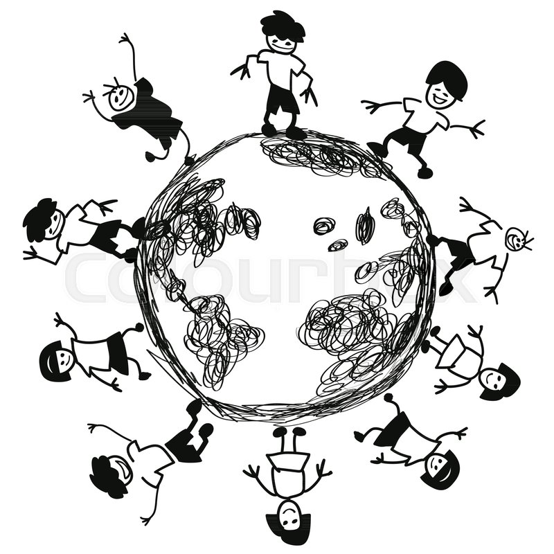 800x800 Isolated Doodle Kids Around Earth Vector From White Background