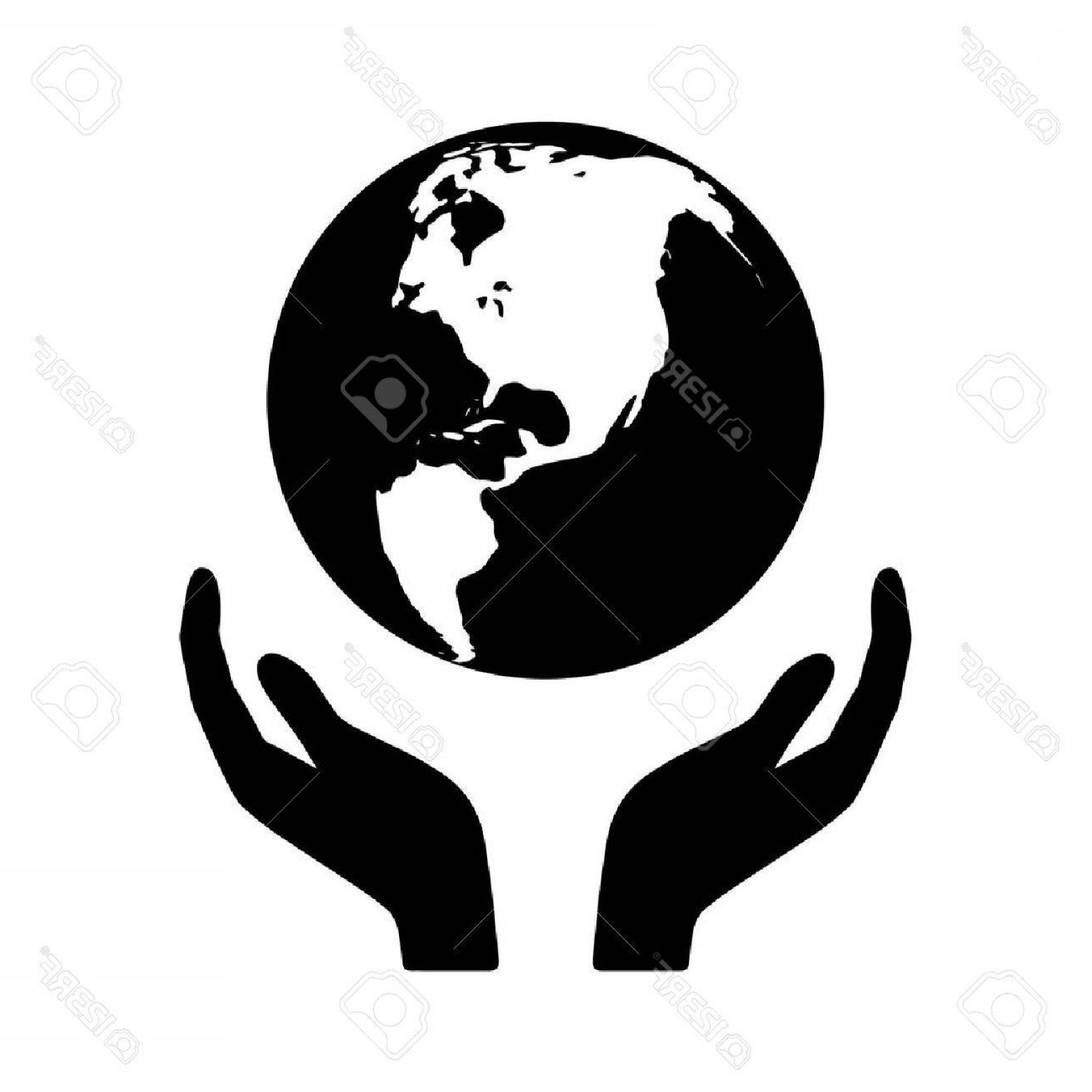 1560x1560 Photostock Vector Save The Planet Hand Palm And Earth Vector Flat