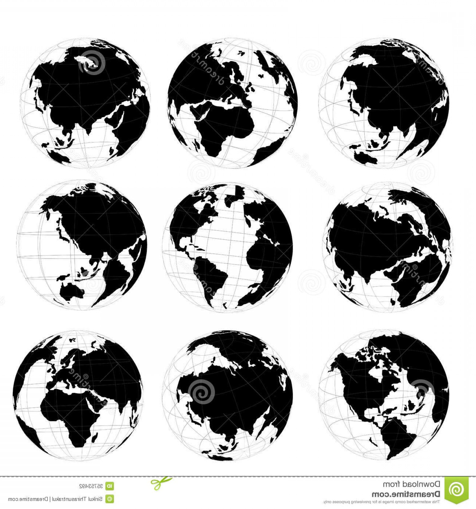 1560x1668 Stock Photography Vector Set D World Map Globe Black White Image