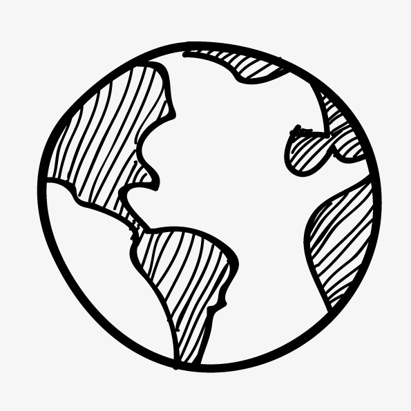 595x595 Vector Hand Drawn Black And White Earth, Vector Earth, Hand