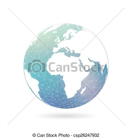 450x470 Geometric Abstract Earth Globe Sphere Concept Illustration. Vector