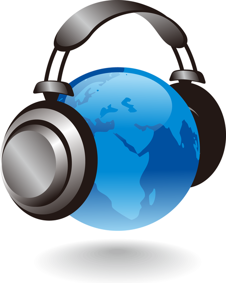 454x570 3d Earth Globe With Headphones Vector Graphic