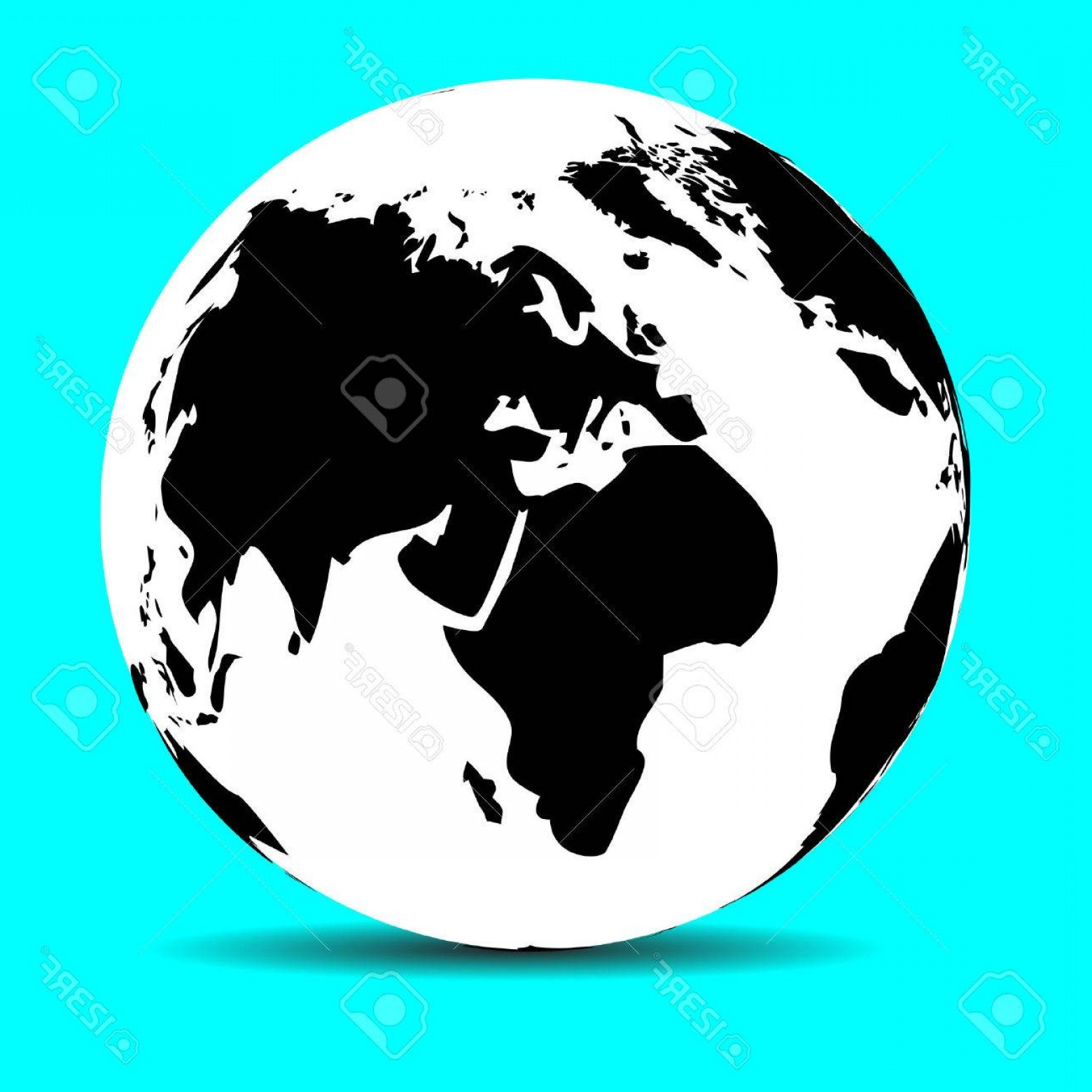 1560x1560 Photostock Vector Globe Map Earth Continent And Ocean Planet And