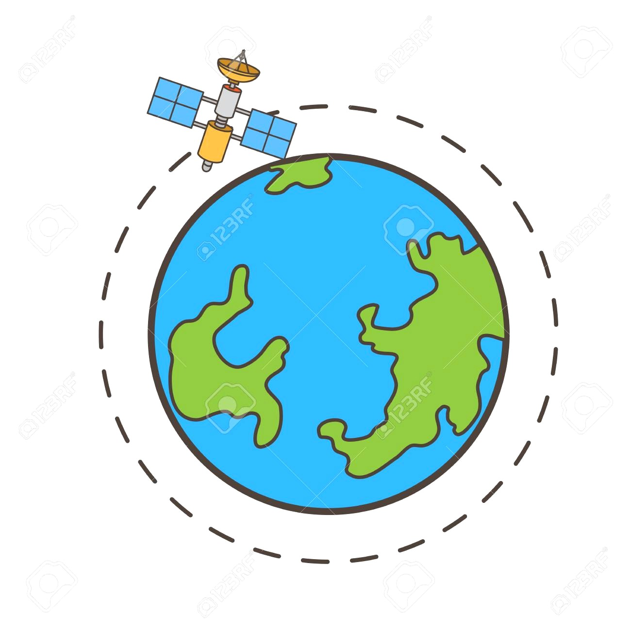 1300x1300 84113255 Satellite Moving Around The Earth Vector Graphic 10