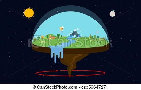 450x290 Theory Of Flat Earth. Vector Illustration In Flat Design.