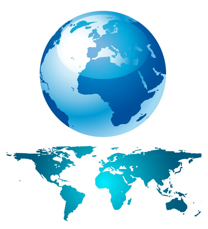 697x768 Blue Globe And World Map Free Vector Graphics All Free Web