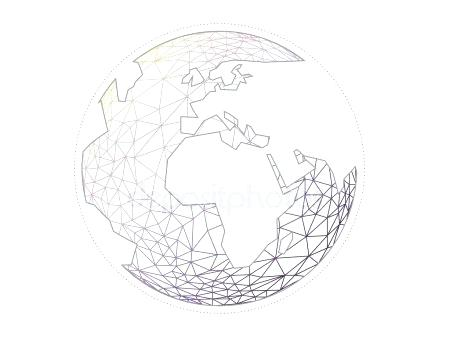 450x337 Colorful Geometric Abstract Earth Globe Sphere Vector Graphic