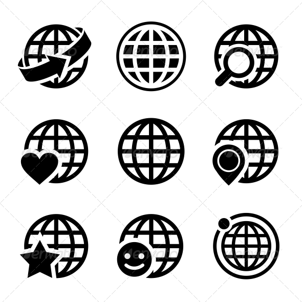 590x590 Globe Earth Vector Icons Set By In Finity Graphicriver