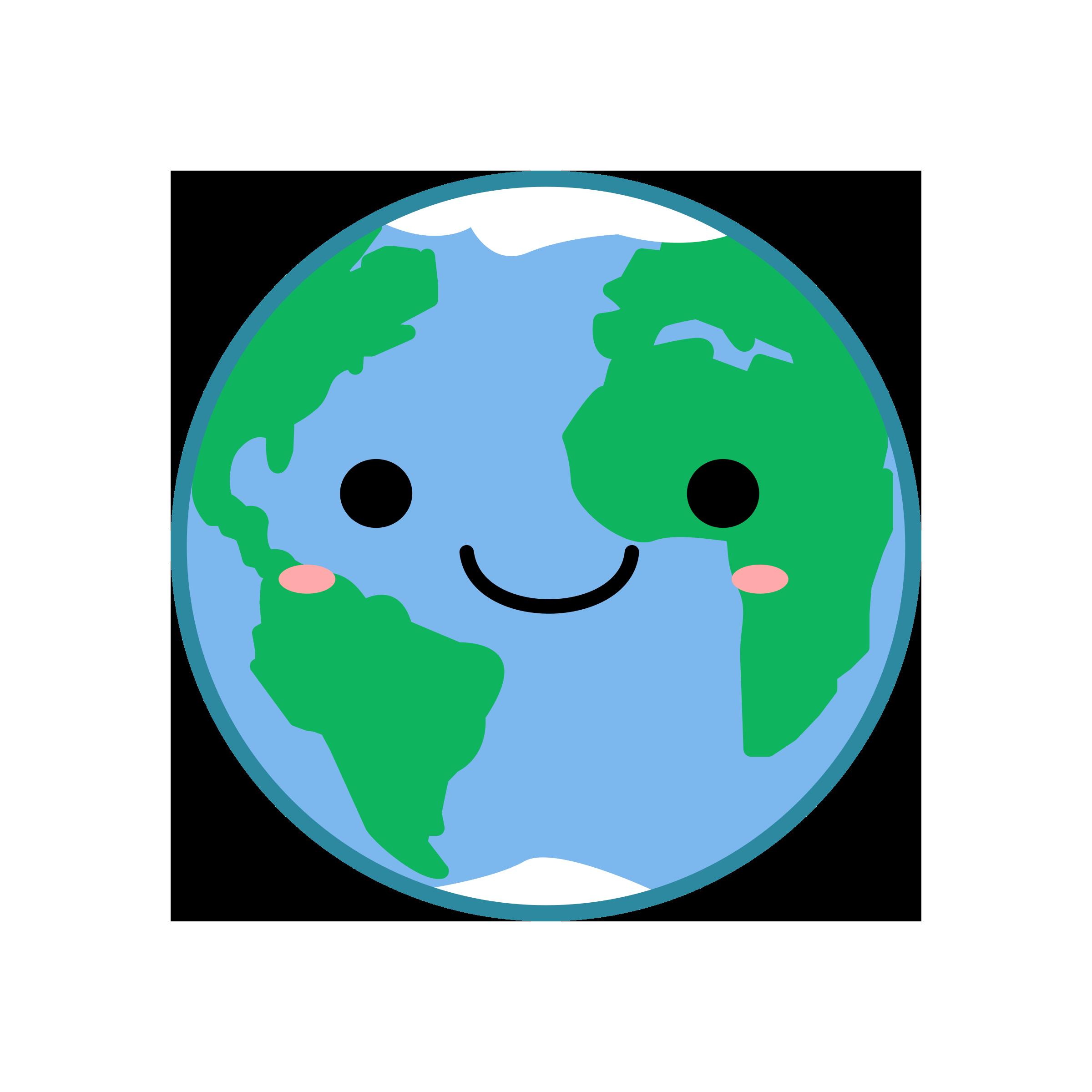 2400x2400 Kawaii Earth Vector Clipart Image