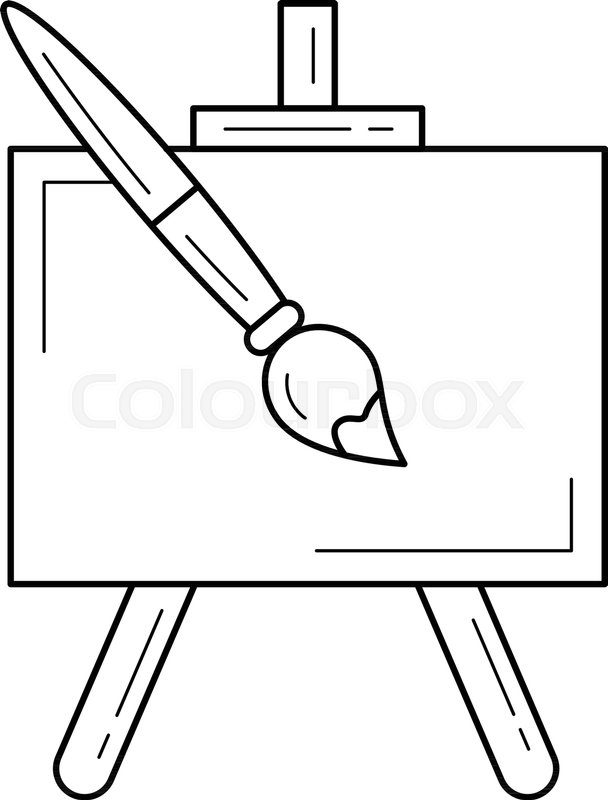 608x800 Easel Vector Line Icon Isolated On White Background. Artistic