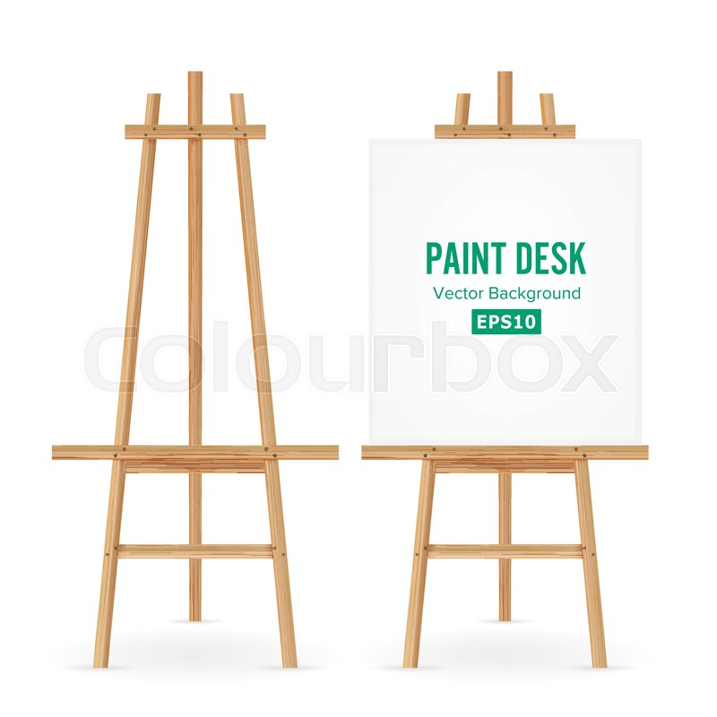 800x800 Paint Desk Vector. Artist Easel Set With White Paper. Isolated On