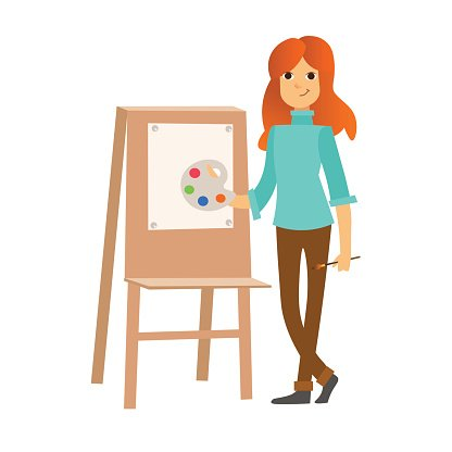 416x416 Painter Woman At Work Easel Vector Premium Clipart