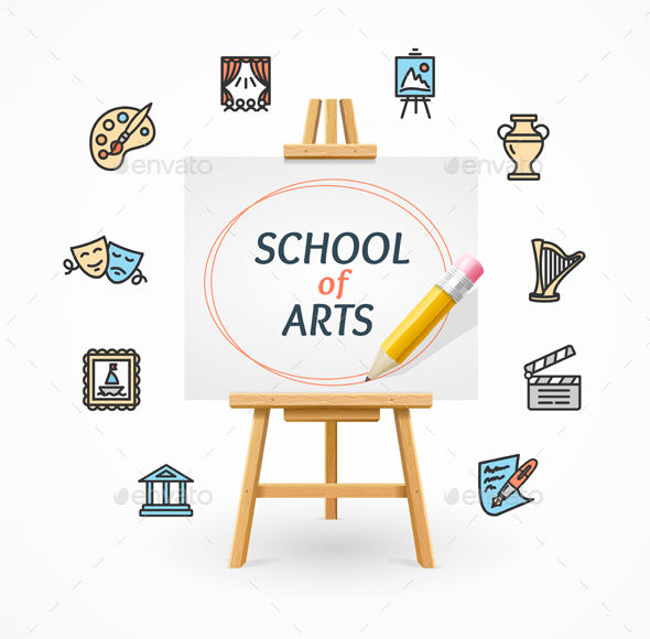 590x580 Art School Concept With Easel. Vector By Mousemd Graphicriver
