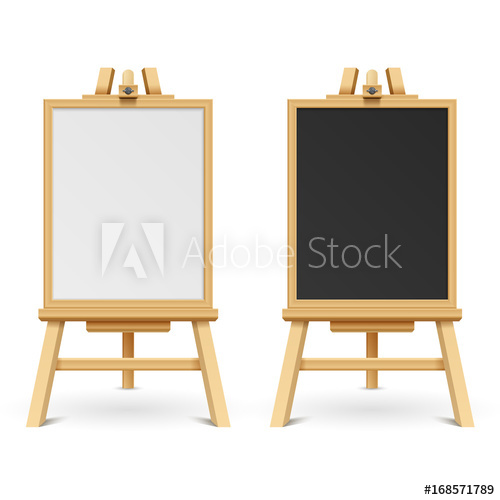 500x500 School Black And White Blank Boards On Easel Vector Illustration
