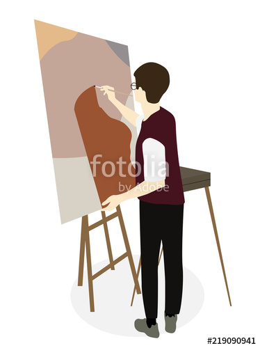 374x500 Silhouette Of Drawing Artist On An Easel. Vector Illustration
