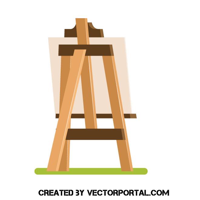 660x660 Wooden Easel Vector Clip Art