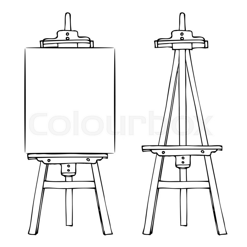 800x800 Wooden Painting Easel With Blank Canvas. Cartoon Black White