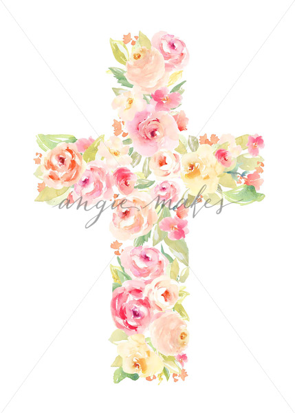 429x600 Cross Made Of Flowers. Watercolor Flower Cross. Easter Cross Made