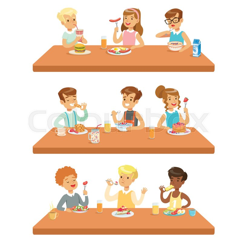 800x800 Kids Eating Brekfast And Lunch Food And Drinking Soft Drinks Set