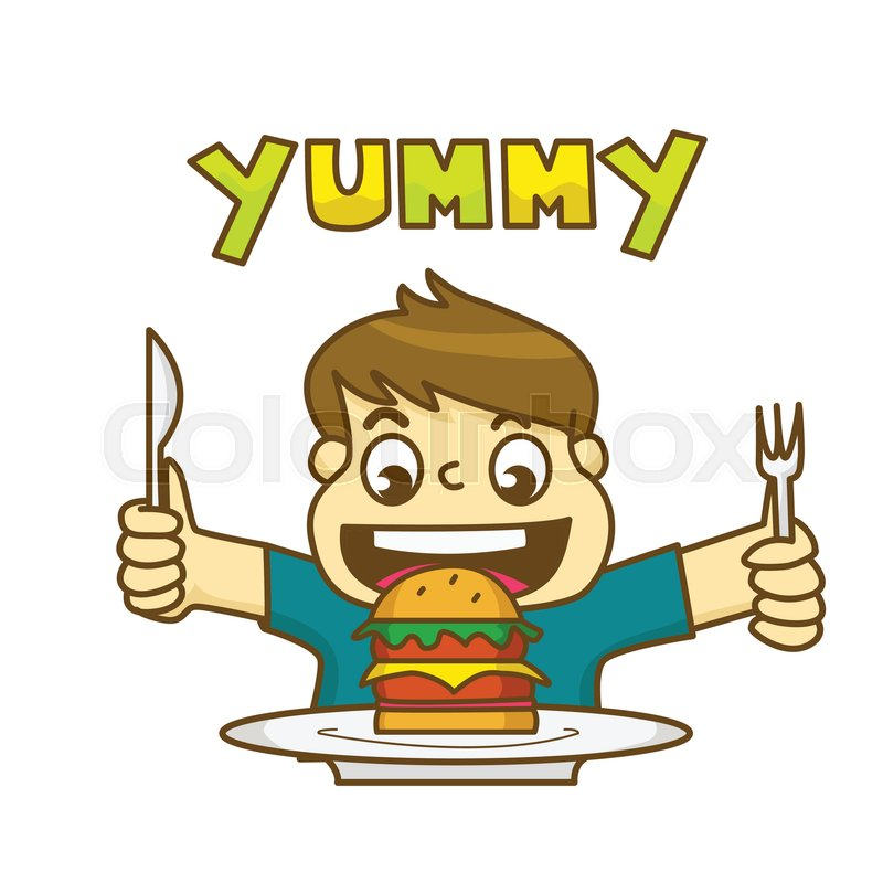 800x800 Little Boy Is Very Happy To Eat Delicious Hamburger And Holding A