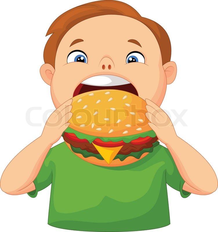 752x800 Vector Illustration Of Cartoon Boy Eating Burger Stock Vector