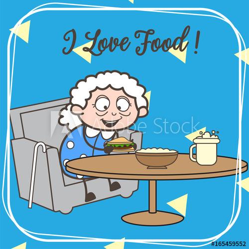500x500 Cartoon Old Granny Ready To Eat Vector Illustration