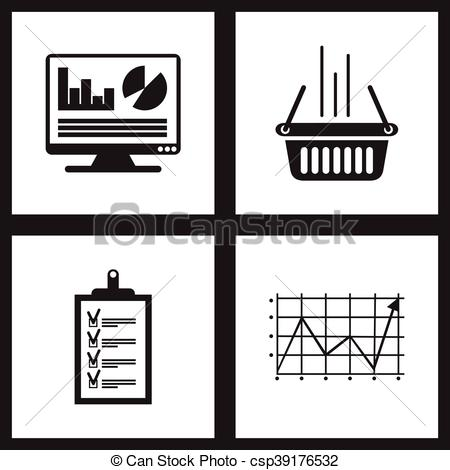 450x470 Concept Flat Icons Black And White Economy. Concept Flat
