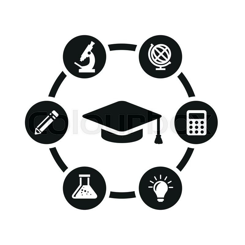 800x800 Vector Black Education Icon Set. Education Icon Object, Education