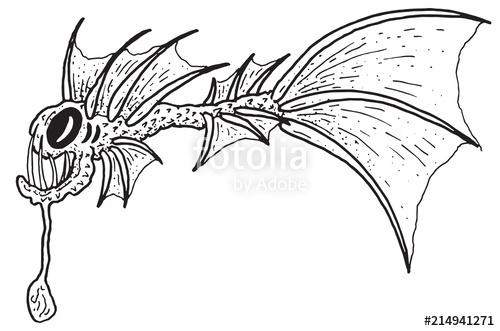 500x331 Scary Weird Deep Sea Imaginary Angler Fish Eel Vector Illustration