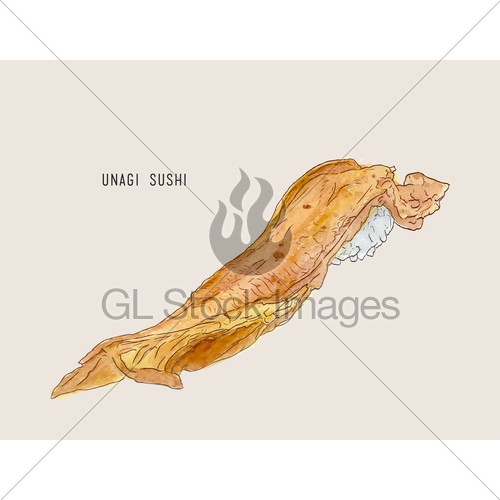 500x500 Vector Illustration Of Hand Drawn Sushi With Smoked Eel. Gl